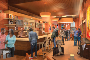 Rendering of the larger and centralized bar area.